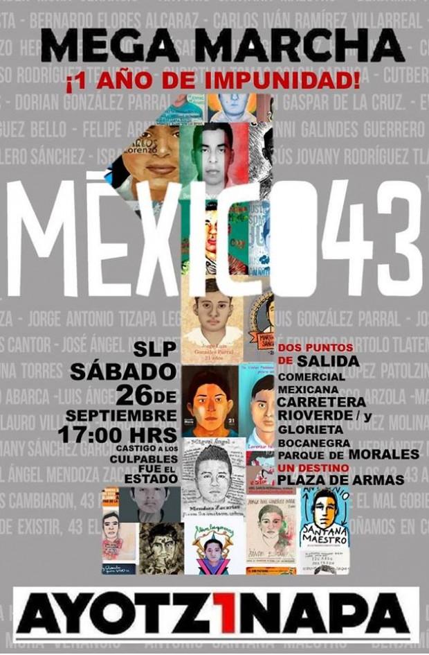 Marcha 1 año Ayotzinapa San Luis Potosí